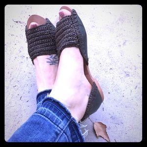 Free people leather peep toe sandals